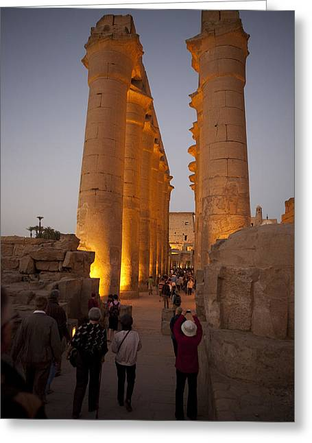 Pharaoh Greeting Cards - Tourists Take Photos The Temple Lit Greeting Card by Taylor S. Kennedy