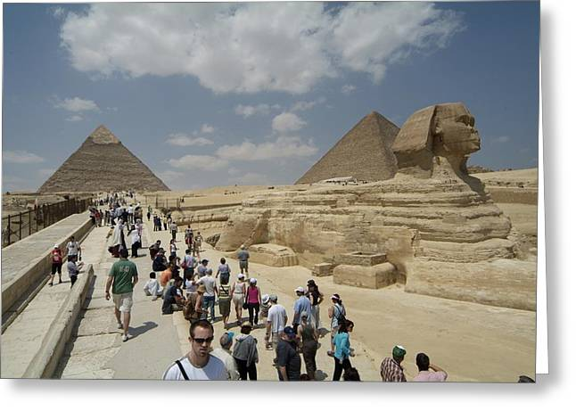 Tourists View The Great Sphinx Greeting Card by Richard Nowitz
