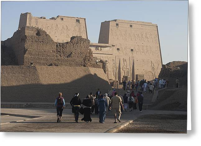 Tourists Walk Towards The Temple Greeting Card by Taylor S. Kennedy