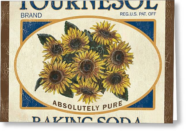 Sunflowers Greeting Cards - Tournesol Baking Soda Greeting Card by Debbie DeWitt