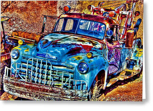 Old Relics Greeting Cards - Tow Truck Greeting Card by Jon Berghoff