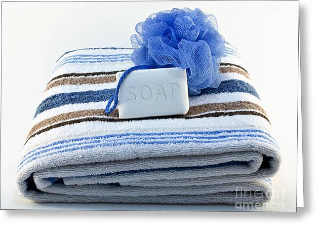 Stripes Greeting Cards - Towel with soap and sponge Greeting Card by Blink Images
