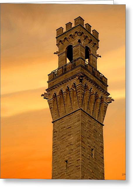 Sue Brehant Greeting Cards - Tower Aglow Greeting Card by Sue  Brehant