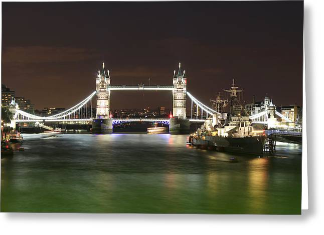 Belfast Greeting Cards - Tower Bridge and HMS Belfast at night Greeting Card by Jasna Buncic
