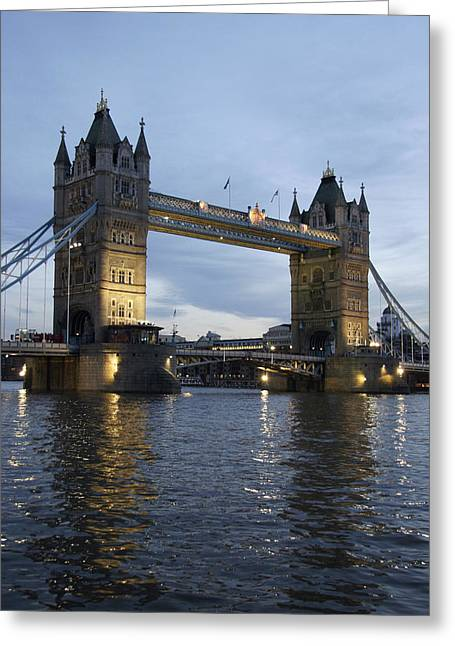 Illuminate Greeting Cards - Tower Bridge And River Thames At Dusk Greeting Card by Axiom Photographic