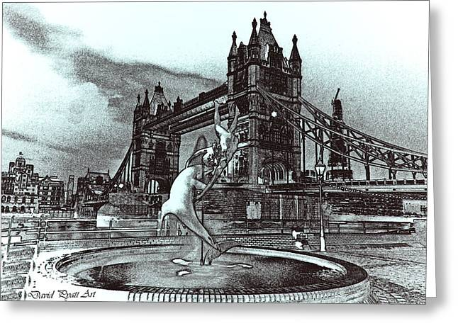 Fountain Digital Art Greeting Cards - Tower Bridge and the Girl and Dolphin Statue Greeting Card by David Pyatt
