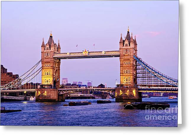 Tower bridge in London at dusk Greeting Card by Elena Elisseeva