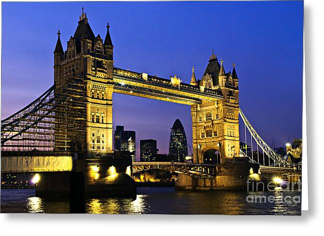 Old Tower Greeting Cards - Tower bridge in London at night Greeting Card by Elena Elisseeva