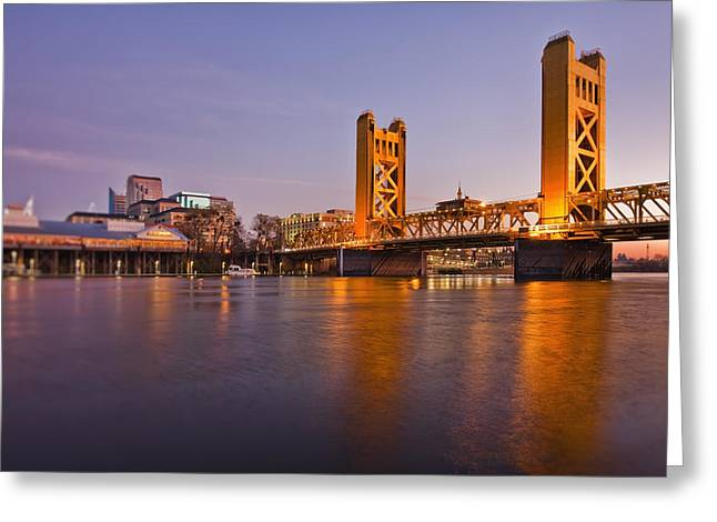 Man Made Space Greeting Cards - Tower Bridge Over The Sacramento River Greeting Card by Bryan Mullennix