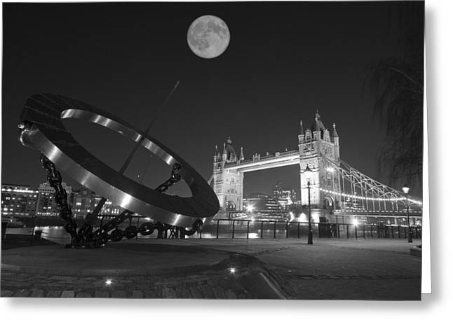 Glas Greeting Cards - Tower Bridge with Sundial  Greeting Card by David French