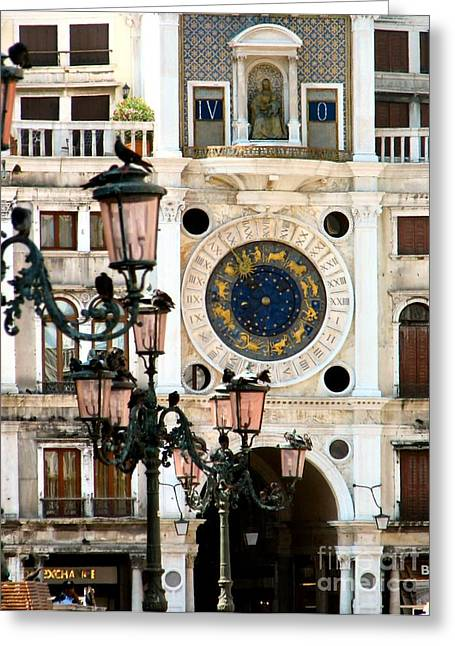 Tower Clock In Saint Mark's Square Greeting Card by Susan Holsan