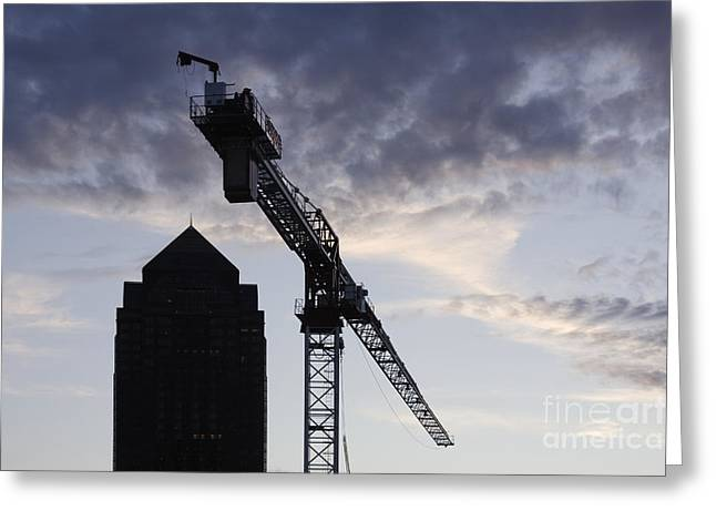 Tower Crane Greeting Cards - Tower Crane with Building Silhouette in Background Greeting Card by Jeremy Woodhouse
