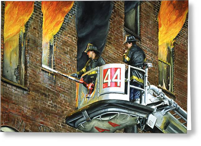 Fire And Water Greeting Cards - Tower Ladder 44-south Bronx Greeting Card by Paul Walsh