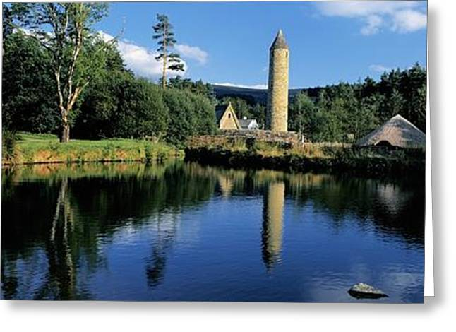 The Church Greeting Cards - Tower Near A Lake, Round Tower, Ulster Greeting Card by The Irish Image Collection