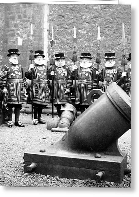 Guard Tower Greeting Cards - Tower of London Guards - c 1900 Greeting Card by International  Images