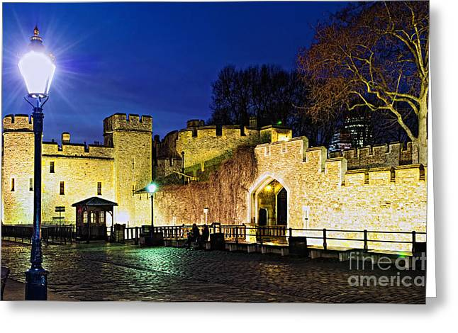 Sidewalks. Arches Greeting Cards - Tower of London walls at night Greeting Card by Elena Elisseeva