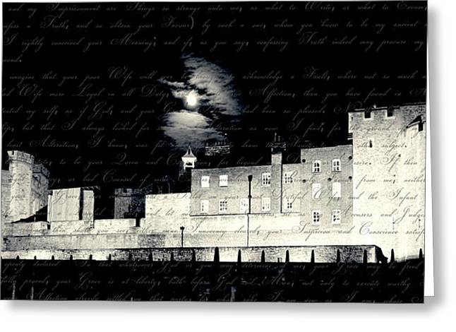 Henry Viii Greeting Cards - Tower of London with Letter from Anne Boleyn Greeting Card by Heidi Hermes