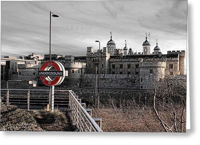 Tower Of London With Tube Sign Greeting Card by Jasna Buncic