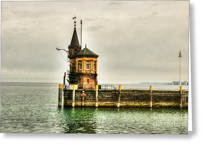 Tower on Lake Greeting Card by Syed Aqueel