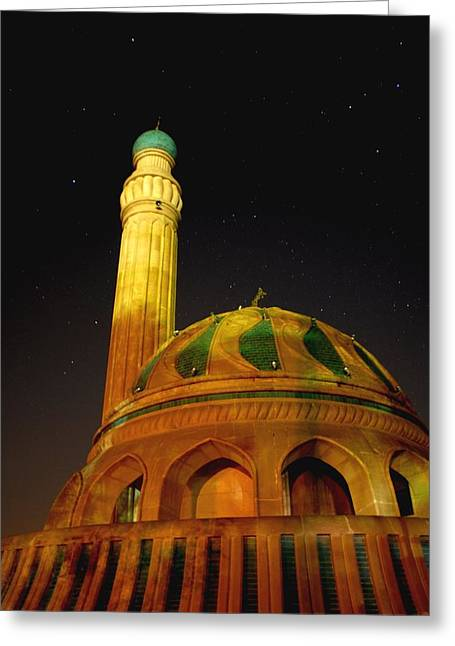 Baghdad Greeting Cards - Towering Mosque in the Night Greeting Card by Rick Frost