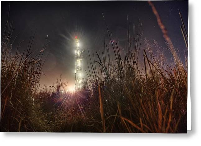 Black Gold Greeting Cards - Towering Oil Greeting Card by Thomas Zimmerman