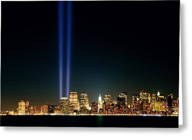 Terrorism Greeting Cards - Towers of Light Greeting Card by Cliff Wassmann