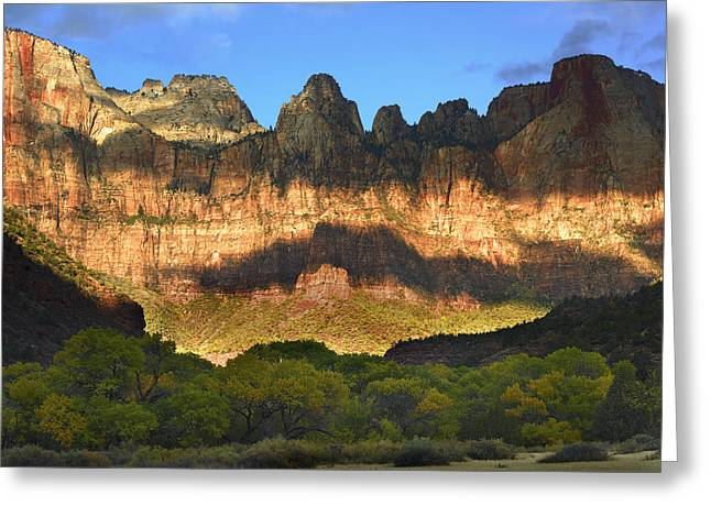 Utah Weather Greeting Cards - Towers Of The Virgin With Cloud Shadows Greeting Card by Tim Fitzharris