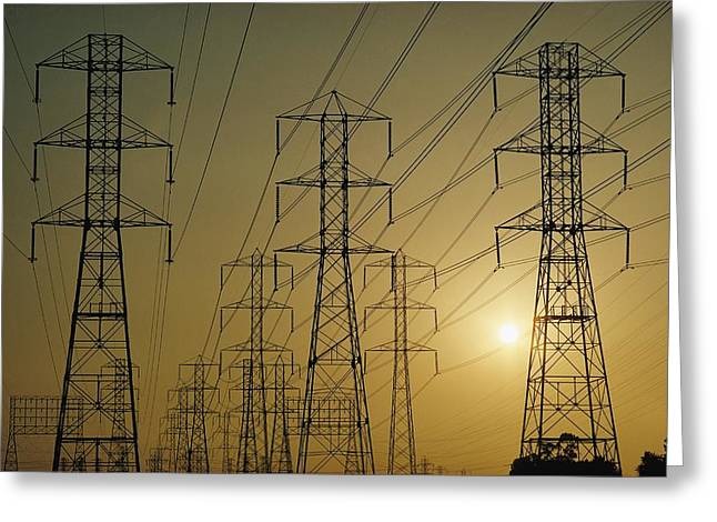 Industrial Concept Greeting Cards - Towers Supporting High Voltage Greeting Card by Emory Kristof