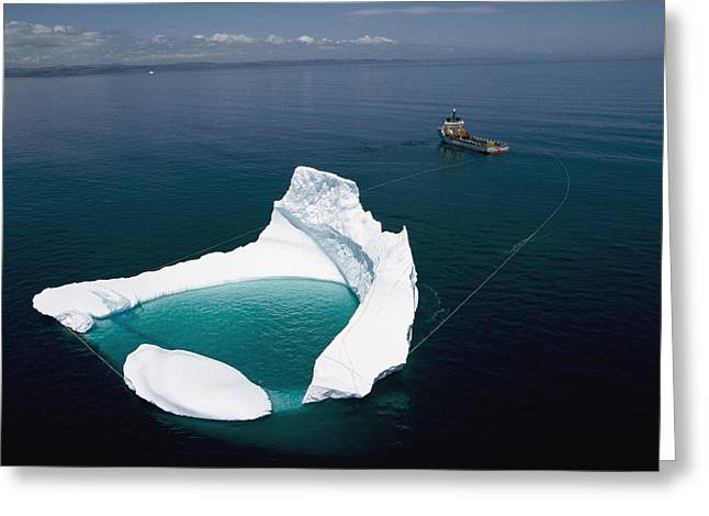 Safety Test Greeting Cards - Towing An Iceberg From A Collision Greeting Card by Randy Olson
