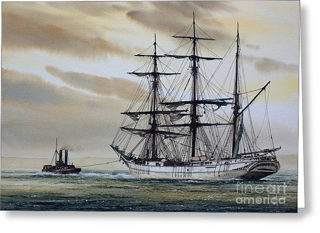 Sailing Ship Framed Prints Greeting Cards - Towing Out to Sea Greeting Card by James Williamson