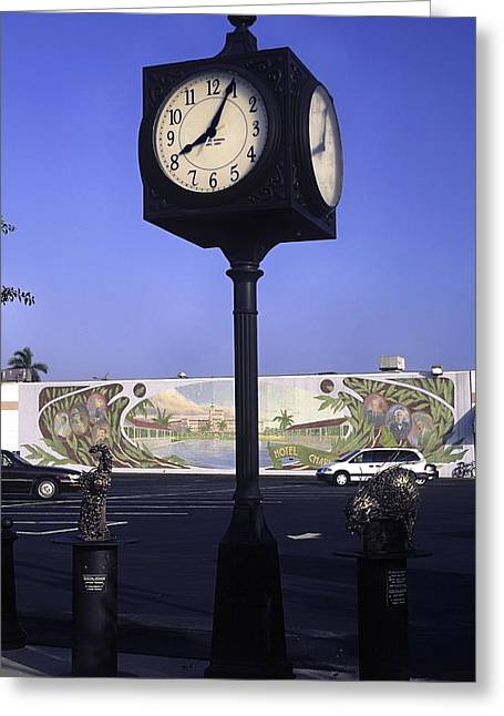 Town Clock Greeting Card by Sally Weigand