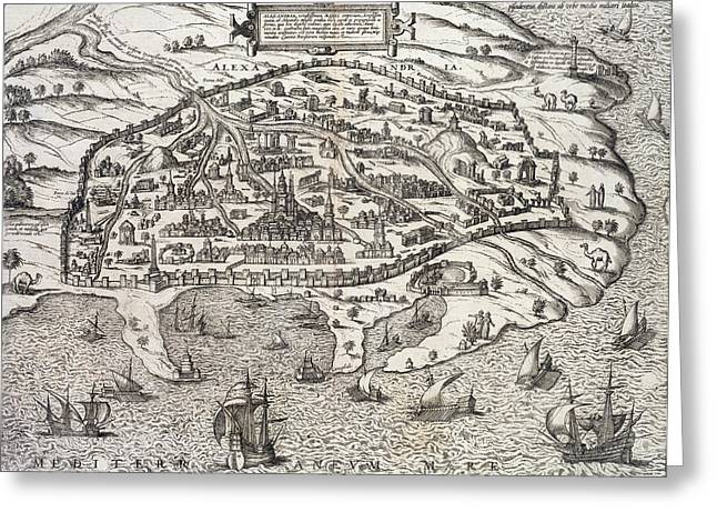 Wall City Prints Greeting Cards - Town map of Alexandria in Egypt Greeting Card by Unknown