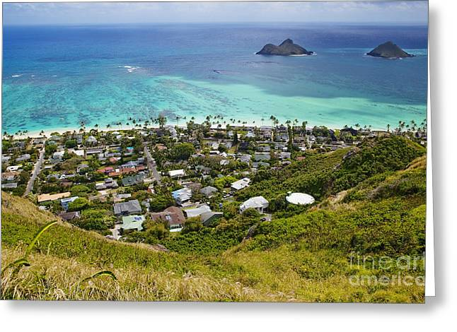 Beauty In Nature Greeting Cards - Town of Kailua with Mokulua Islands Greeting Card by Inti St. Clair