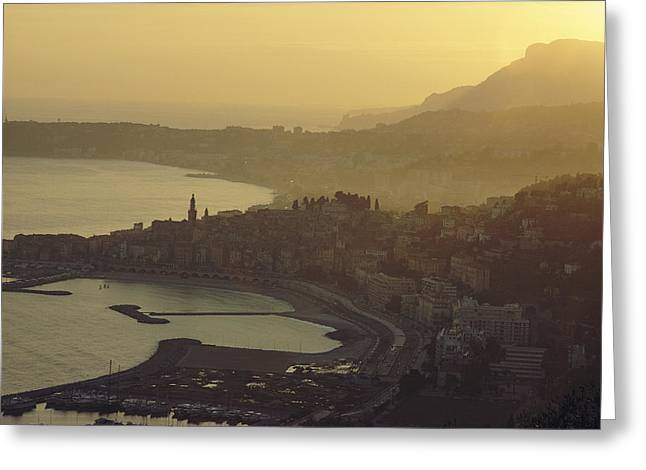 Town Of Menton, France Greeting Card by George F. Mobley