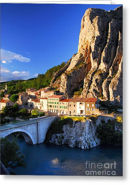 Alpes Greeting Cards - Town of Sisteron in Provence France Greeting Card by Elena Elisseeva