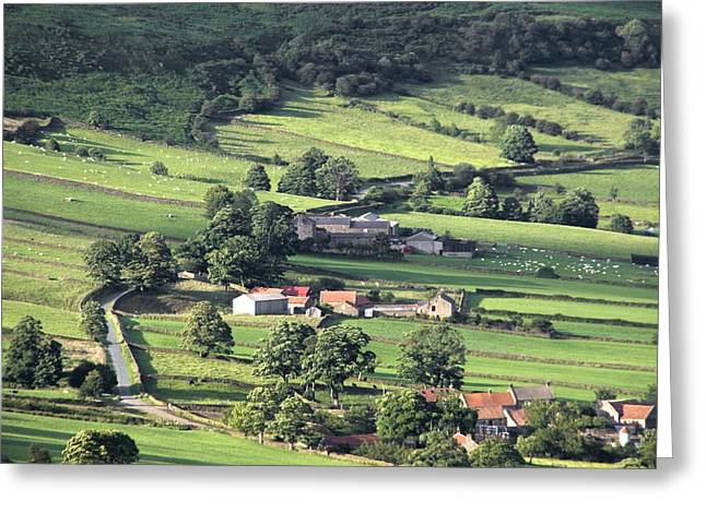 Arial Greeting Cards - Town On Hillside, North Yorkshire Greeting Card by John Short