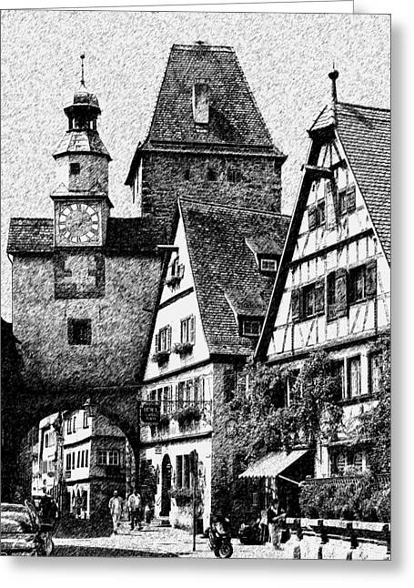 Fuselier Greeting Cards - Town Square Greeting Card by Cecil Fuselier