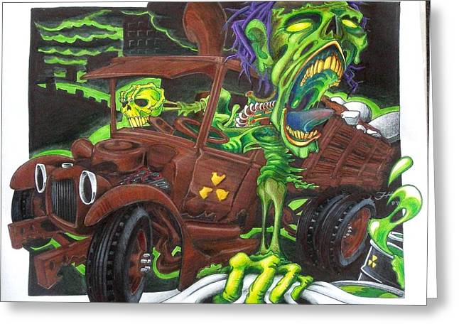 Toxic Mixed Media Greeting Cards - Toxic Dump Greeting Card by Jason Hunt