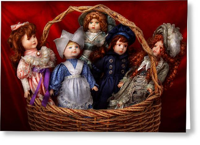 Child Toy Greeting Cards - Toy - Dolls - A basket of Victorian dolls  Greeting Card by Mike Savad