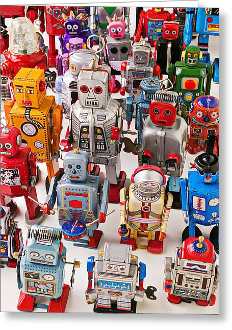 Miniature Photographs Greeting Cards - Toy robots Greeting Card by Garry Gay