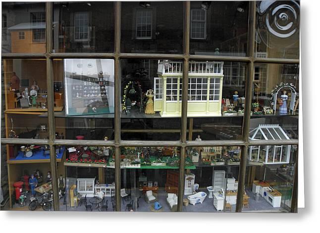 Toy Shop Greeting Cards - Toy Shop Window Greeting Card by Diane Barrett