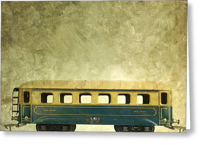 Miniature Effect Greeting Cards - Toy train Greeting Card by Bernard Jaubert