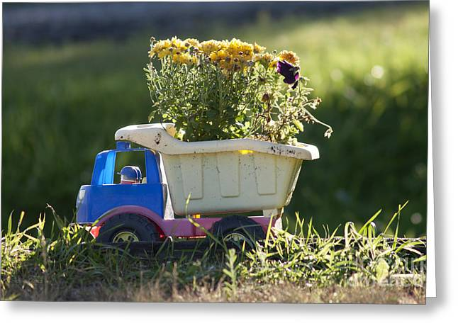 Green Flower Hat Greeting Cards - Toy Truck Planter Greeting Card by Gordon Wood