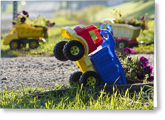 Green Flower Hat Greeting Cards - Toy Truck Planters Greeting Card by Gordon Wood