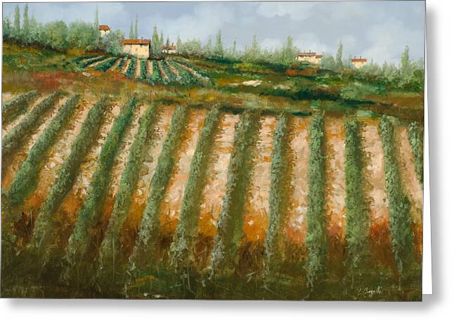Vineyards Paintings Greeting Cards - Tra I Filari Nella Vigna Greeting Card by Guido Borelli