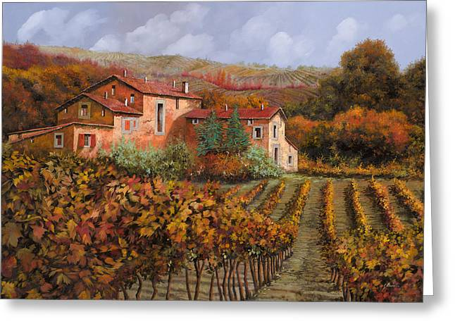 Vineyards Paintings Greeting Cards - tra le vigne a Montalcino Greeting Card by Guido Borelli