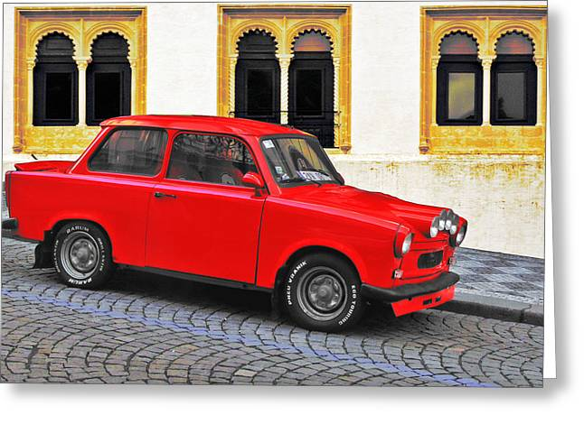 Driving Machine Greeting Cards - Trabant Ostalgie Greeting Card by Christine Till