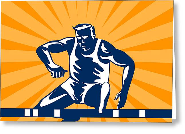 Hurdles Greeting Cards - Track and Field Athlete Jumping Hurdles Greeting Card by Aloysius Patrimonio