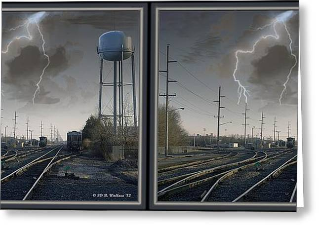 Pairs Greeting Cards - Tracking The Storm - Gently cross your eyes and focus on the middle image Greeting Card by Brian Wallace