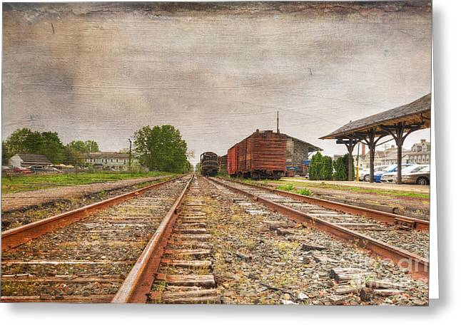 Tracks By The Station Greeting Card by Paul Ward